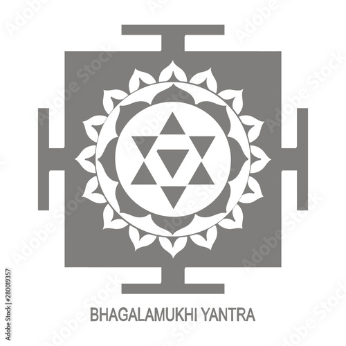 Vector icon with Bhagalamukhi Yantra Hinduism symbol - Buy