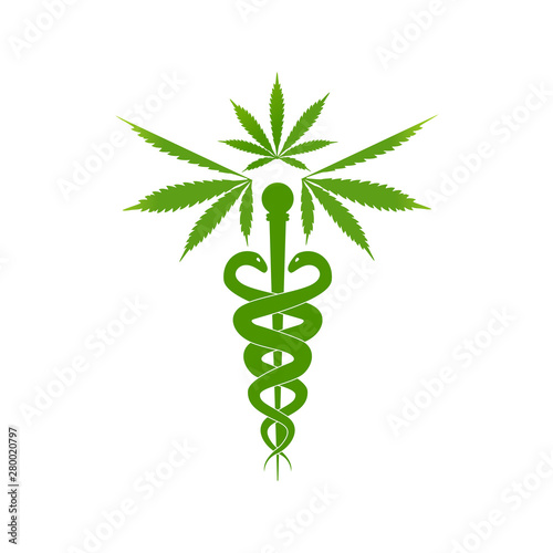 Medical marijuana plant caduceus concept symbol Wallpaper Mural