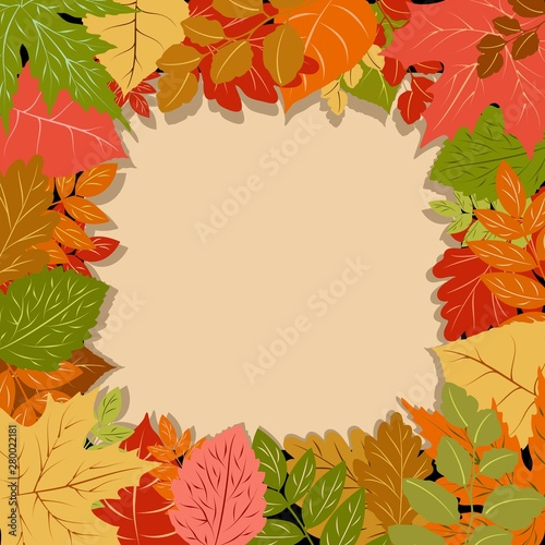 Ingelijste posters Draw Autumn Leaves Fall Season Vector Frame Border Background