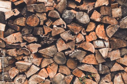 Fotografija Stacked wooden logs, chopped firewood