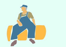 Farmer In Denim Overalls And Cap Is Sitting On A Haystack. Agribusiness Illustration. Applique Or Paper Cut Style. Colorful Vector Illustration.