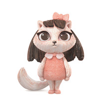 3d Watercolor Digital Illustration Of A Little Cute Girl Kitty With Long Black Hair In Dress On White Background. Bas-relief Vintage Pastel Cartoon Character Cat Girl With Big Eyes And Red Bow On Head