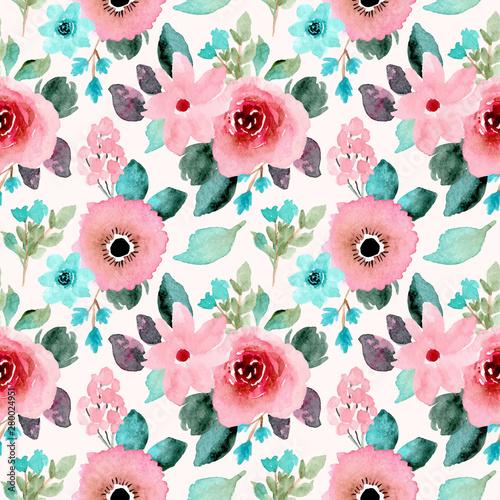 Keuken foto achterwand Bloemen pink mint floral watercolor seamless pattern