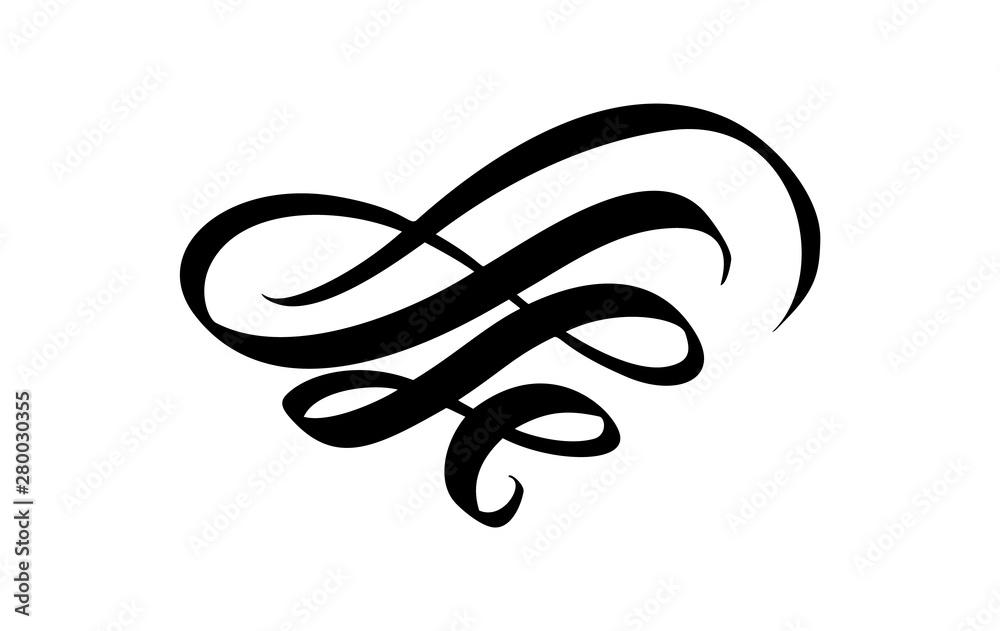Fototapety, obrazy: Vintage swirl calligraphic flourish, vector divider ornament design. Illustration for book, greeting card, wedding invitation, Valentines Day