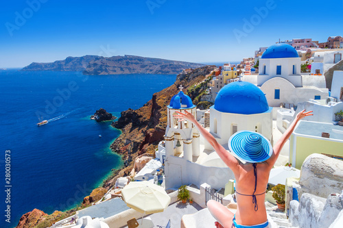 Fototapeta Beautiful Oia town on Santorini island, Greece obraz