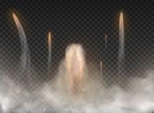 Space Rocket Smoke Isolated On...