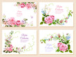 Set of wedding invites: bouquet pink roses, forget-me-nots flowers, buds, leaves, asparagus twigs. Horizontal card, white background. Botanical illustration in watercolor style, vintage, vector, A4