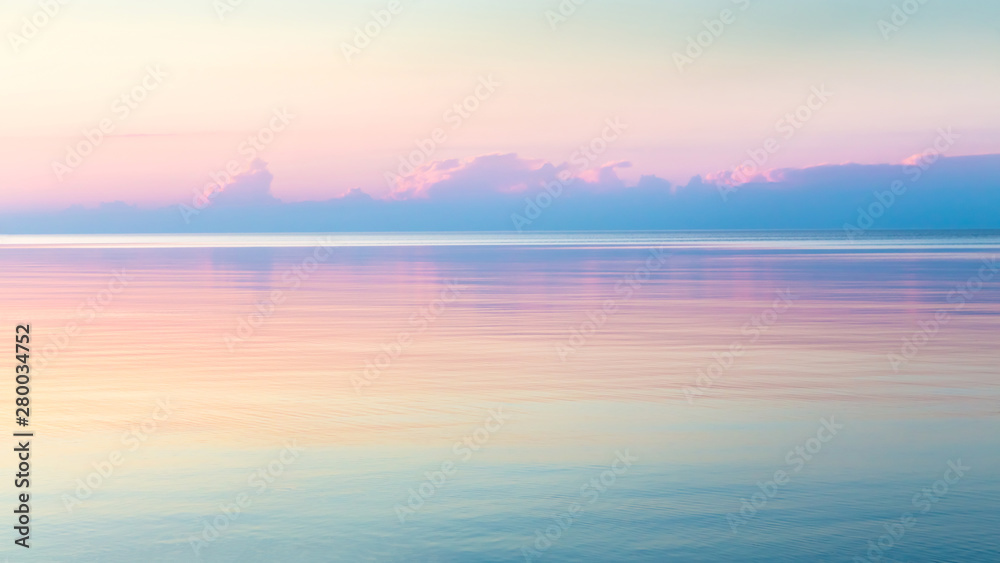 Fototapety, obrazy: Morning clear seascape with colorful sky. Natural soft background. Beautiful magical pink and gold reflected in the water.