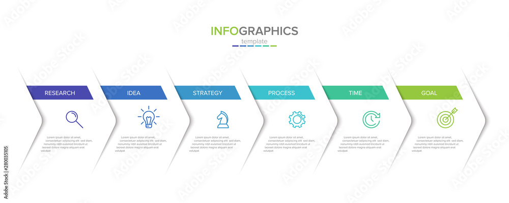 Fototapeta Vector infographic label template with icons. 6 options or steps. Infographics for business concept. Can be used for info graphics, flow charts, presentations, web sites, banners, printed materials.