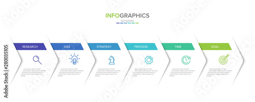 Vector infographic label template with icons. 6 options or steps. Infographics for business concept. Can be used for info graphics, flow charts, presentations, web sites, banners, printed materials. - fototapety na wymiar