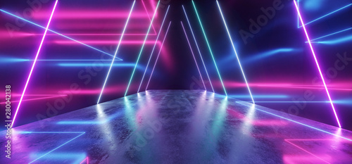 Fotografie, Obraz  Spaceship Neon Glowing Lights Laser Shapes Beam Purple Blue Vibrant Retro Modern