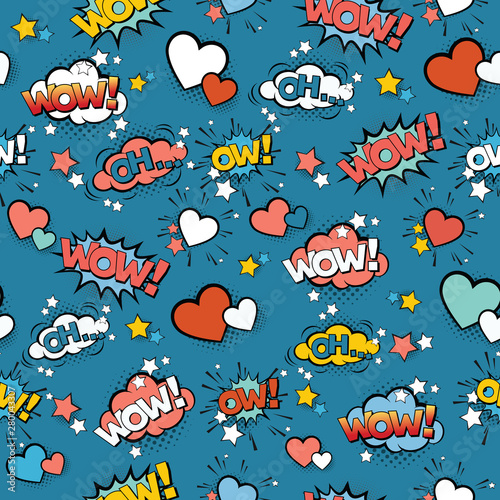 Seamless vintage pattern for gift wrap and fabric design with pop art signs and comic cartoon bubbles