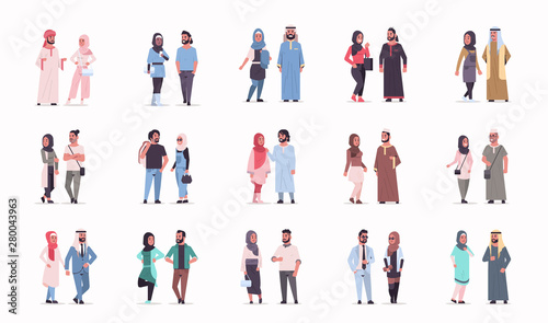 Photo set different arabic business couple standing together arab man woman wearing tr