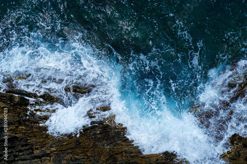 Ocean sea water wave blue background. Aerial view