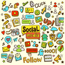 Social Media Related Object And Element Collection. Hand Drawn Vector Doodle Illustration In Color.