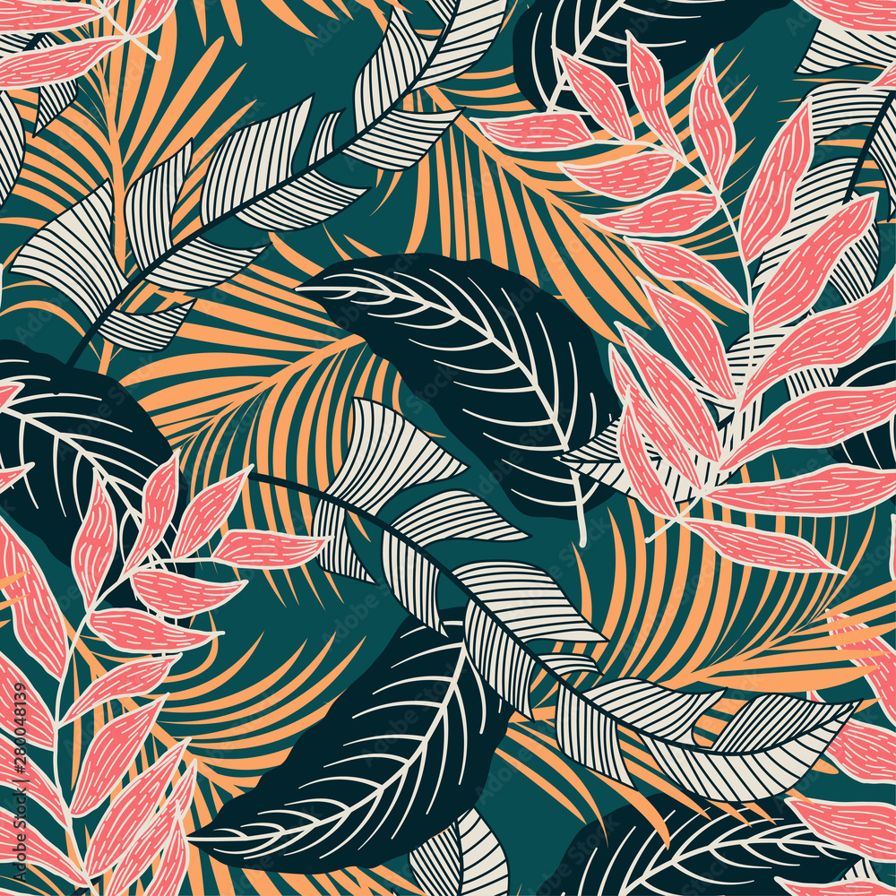 Trend seamless pattern with colorful tropical leaves and plants on green background. Vector design. Jungle print. Flowers background. Printing and textiles. Exotic tropics. Fresh design.