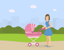 Young Mother With Her Baby In Stroller Walking Outdoor, Woman Pushing Pram With Newborn Baby On Summer Landscape Vector Illustration