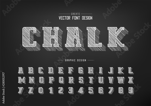 chalk shadow bold Font and alphabet vector, Pencil sketch script and