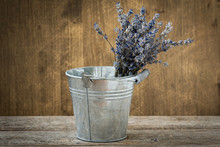 Dried Lavender In A Metal Bucket