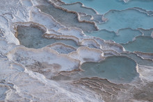 Turkey, Calcium Pools On Travertine Terraces At Pamukkale (Cotton Castle), Natural Site Of Sedimentary Rock Deposited By Hot Springs, Famous For Carbonate Mineral Left By Flowing Water