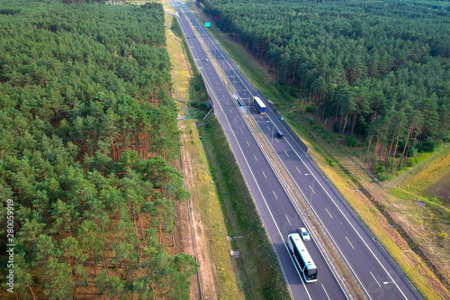 fototapeta na szkło Aerial view of the highway in Poland