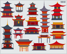 A Set Of Chinese Buildings And Temples In The Traditional Style On A Light Gray Background