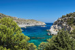ship in the Anthony Quinn Bay on the island of Rhodes, Greece .