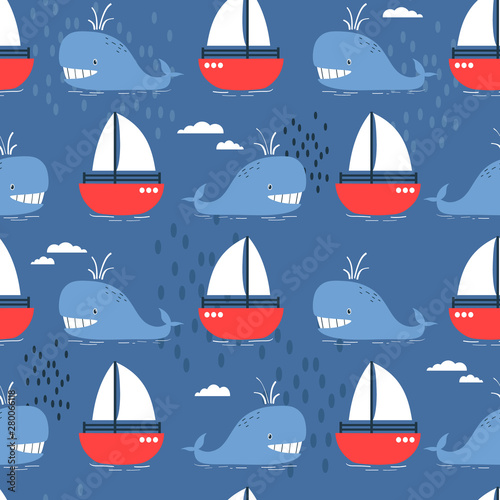 Happy whales and boats, hand drawn seamless pattern. Marine background vector. Colorful illustration, overlapping backdrop. Decorative cute wallpaper, good for printing