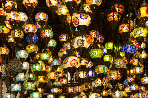 Arabic lamps hanging in the souvenir shop