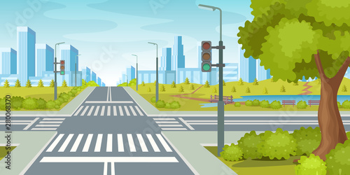 Foto City road with crossroads traffic lights
