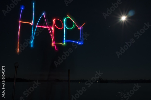 Happy Neon lake at night