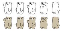 Bear Vector Icon Polar Bear Logo Cartoon Character Doodle Illustration Design
