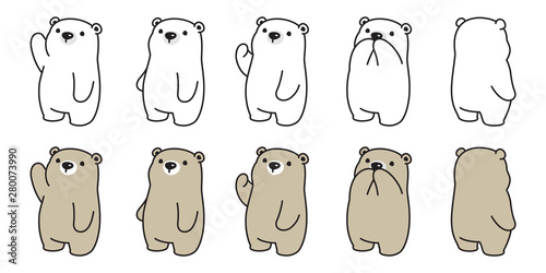 Fotografia Bear vector icon polar bear logo cartoon character doodle illustration design