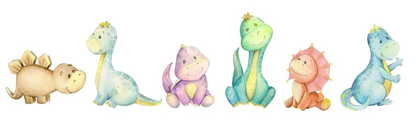 watercolo,  little dinosaur. isolated set