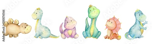 Tuinposter Kunstmatig watercolo, little dinosaur. isolated set