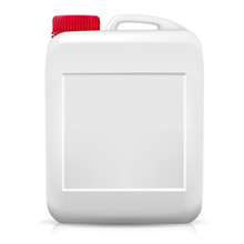 Plastic Container Mockup For Inserting Advertising And Any Image. Bottle For Storing Liquid Substances. White Color With A Red Cap. Front View. Isolated On White Background. Vector Illustration