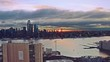 Aerial View Sunrise at New York City and sunflares 4k Midtown Sunrise series