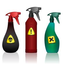 Poison Spray Bottles. Toxins, ...
