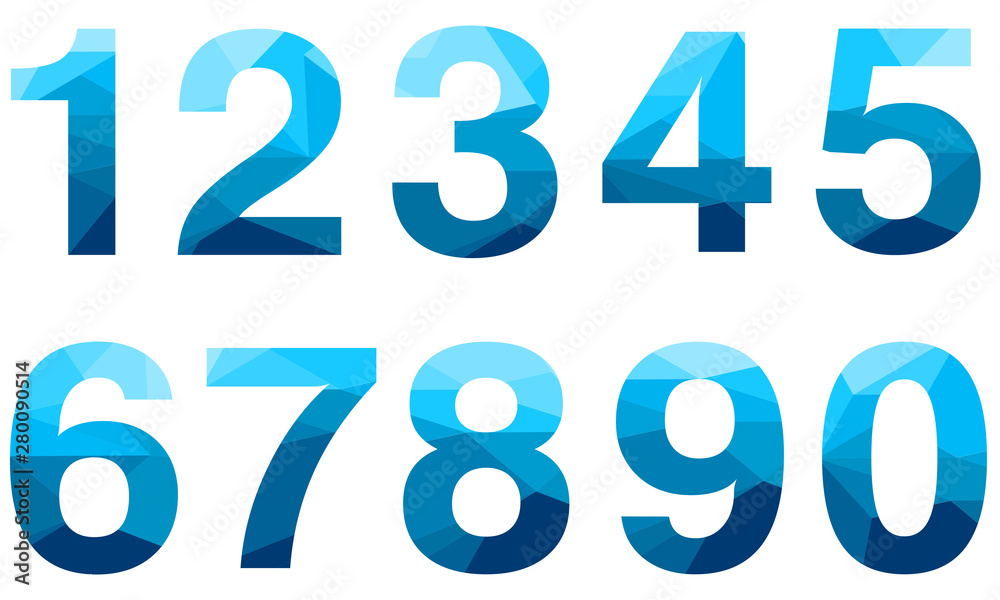 Fototapeta Set of blue vector polygon numbers font with long shadow.  Low poly illustration of flat design.