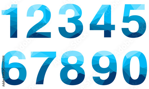 Cuadros en Lienzo  Set of blue vector polygon numbers font with long shadow