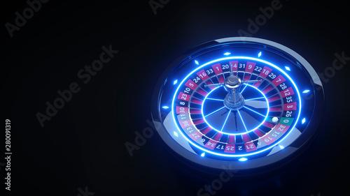 Pinturas sobre lienzo  Luxury Online Casino Roulette Wheel With Neon Lights - 3D Illustration