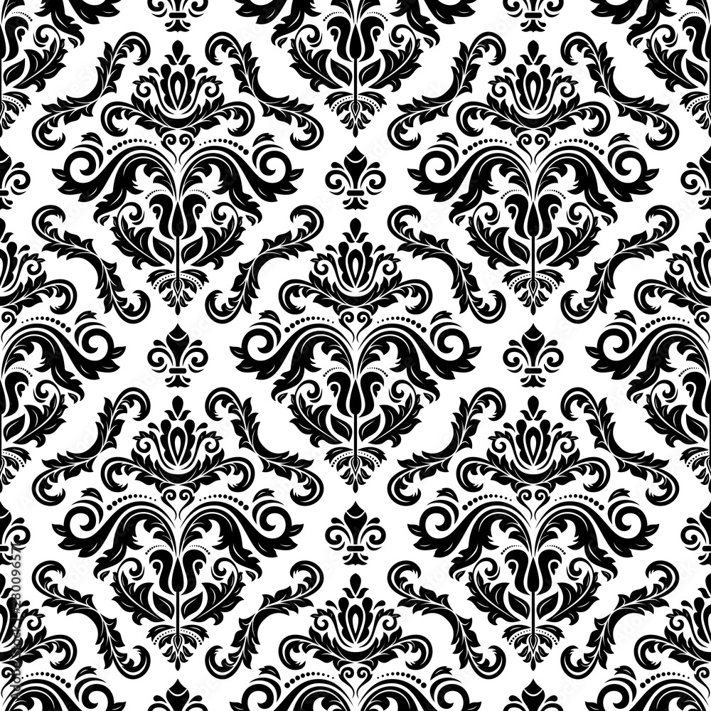 Orient classic pattern. Seamless abstract background with black and white vintage elements. Orient background