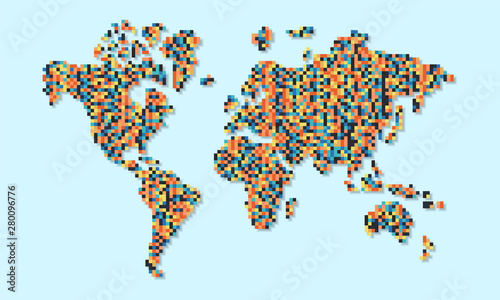 Fototapeta World map of colorful abstract pixels concept