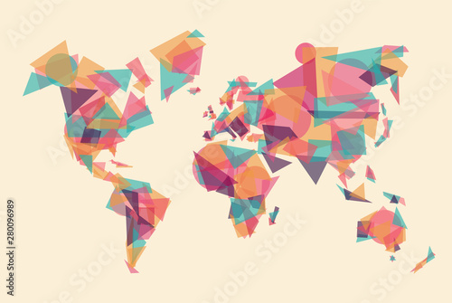 Fotografie, Obraz  Abstract world map made of colorful geometry shape