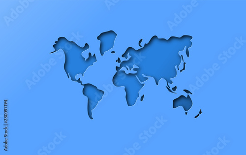 Obraz na plátně Blue papercut cutout world map concept