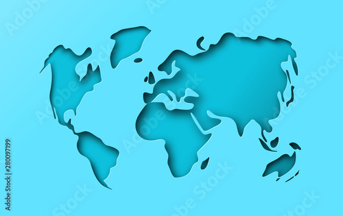 Obraz na plátně  Blue paper cutout world map papercut concept