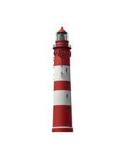 Schöner Alter Leuchtturm, Rot Weiß Nordsee, Amrum, Freigestellt, Isoliert Auf Weißem Hintergrund