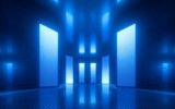 Fototapeta Do przedpokoju - 3d render, blue neon abstract background, ultraviolet light, night club empty room interior, tunnel or corridor, glowing panels, fashion podium, performance stage decorations,