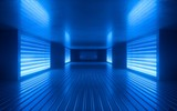 Fototapeta Perspektywa 3d - 3d render, blue neon abstract background, ultraviolet light, night club empty room interior, tunnel or corridor, glowing panels, fashion podium, performance stage decorations,