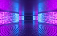 3d Render, Blue Pink Neon Light Abstract Background, Night Club Empty Room Interior, Tunnel Or Corridor, Glowing Panels, Fashion Podium, Performance Stage Decorations,